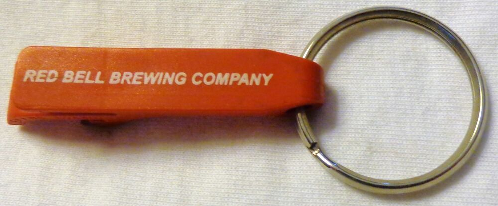 vintage red bell brewing company bottle opener key chain red plastic rare ebay. Black Bedroom Furniture Sets. Home Design Ideas