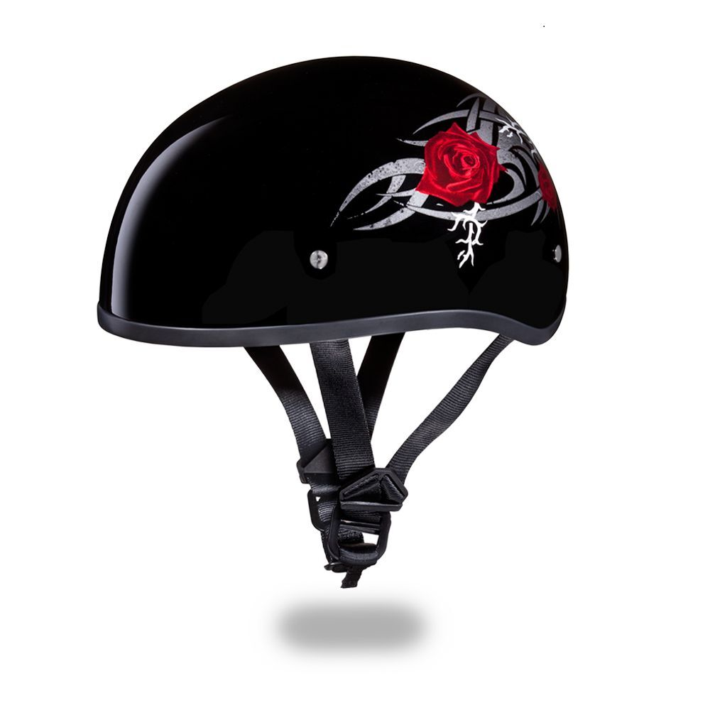 NEW SLIM LINE D.O.T. DAYTONA SKULL CAP- W/ RED ROSE ...