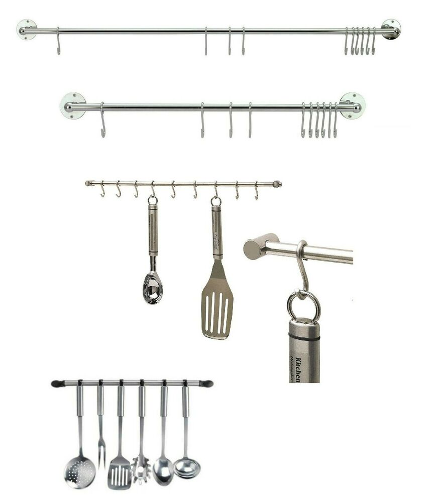Chrome hanging rail for kitchen utensils wall mounted rack for Kitchen racks hanging