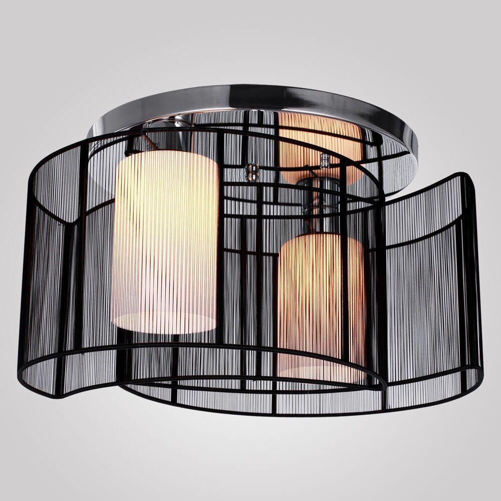 Modern Black Ceiling Pendant 2Lamp Lighting Chandelier Semi Flush Mount Fixtu