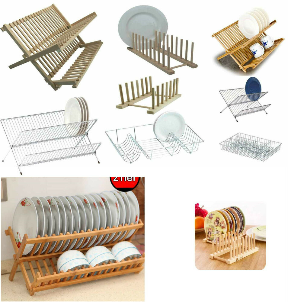 Foldable Dish Drainer Wooden Metal Chrome Wire Dinner