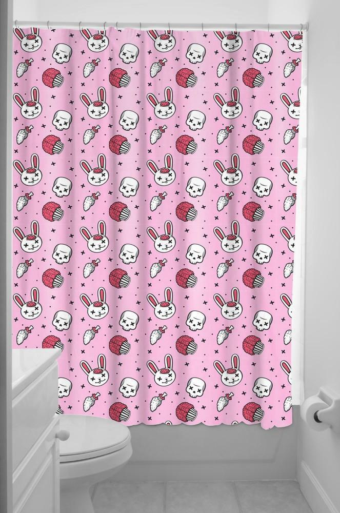 Sourpuss Zombie Bunny Fabric Shower Curtain Amp Rings Pink