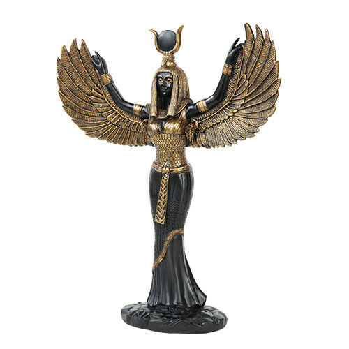 Goddess Isis Statue Black Gold Wicca Witch Pagan Goth Ebay