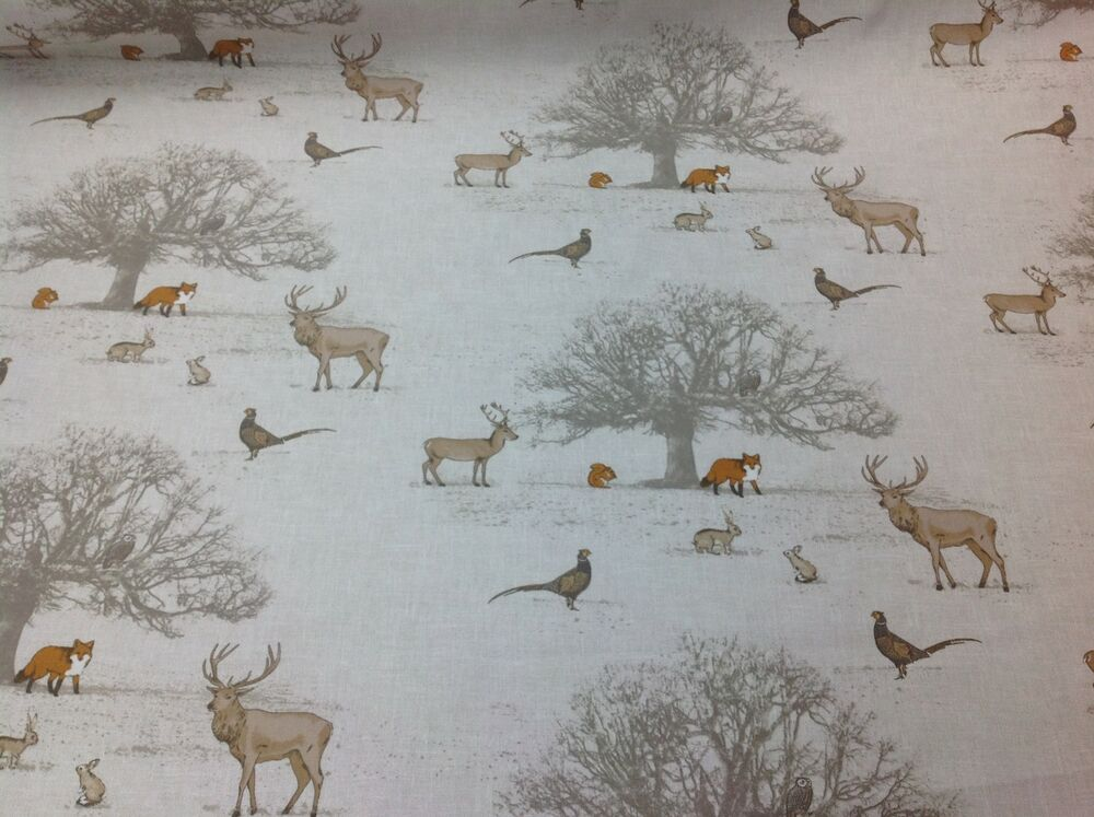Fryett S 100 Cotton Tatton Woodland Fabric For Curtain