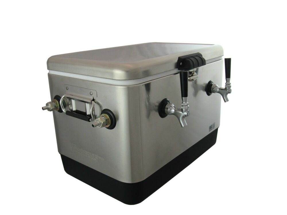 Stainless Steel Double Faucet Beer Jockey Box 2x70 High