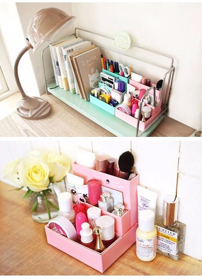 Diy foldable paper cardboard storage box makeup cosmetic Makeup organizer ideas