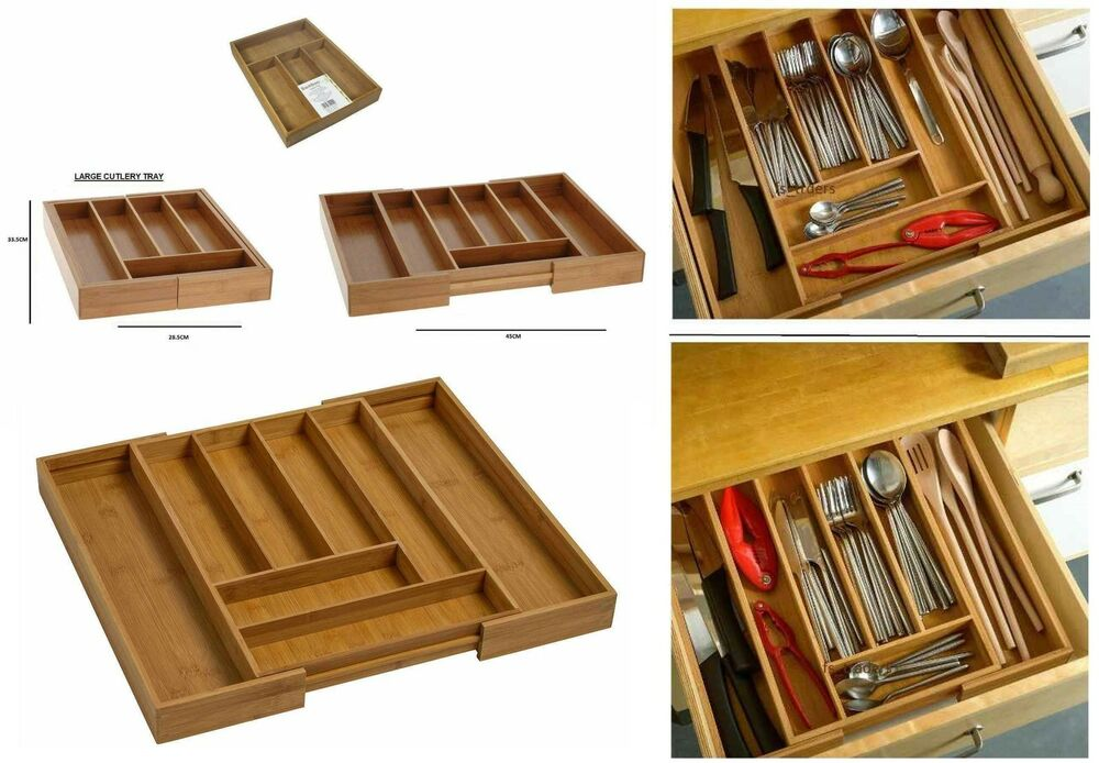 Bamboo Expandable Wooden Cutlery Tray Holder Tidy Drawer