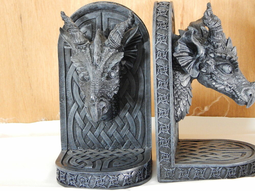 Bookends medieval gothic celtic dragon heads pair book ends ebay - Gothic bookends ...