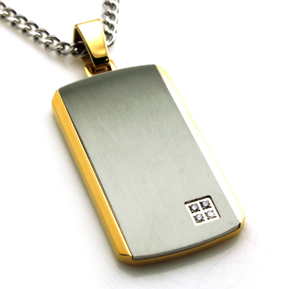 Gold Zodiac Dog Tag Pendant Necklace: Men's Stainless Steel Two Tone Gold Plated Dog Tag Pendant