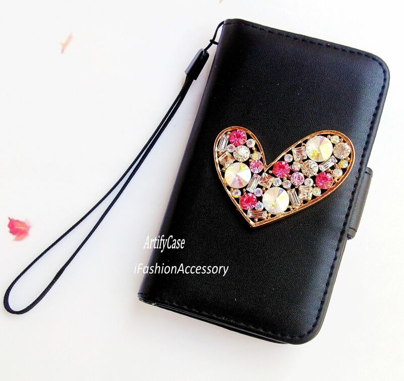 Bling Heart phone wallet flip case Handmade Card cover For iPhone 4 5 ...