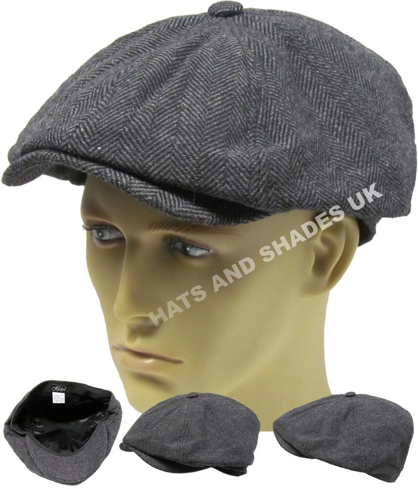 New Tweed Herringbone Gatsby Cap Hat Mens Ladies Flat 8