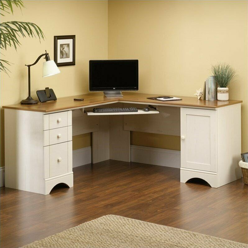 Computer Desk Home Office Furniture Workstation Table Corner In Antiqued Whit