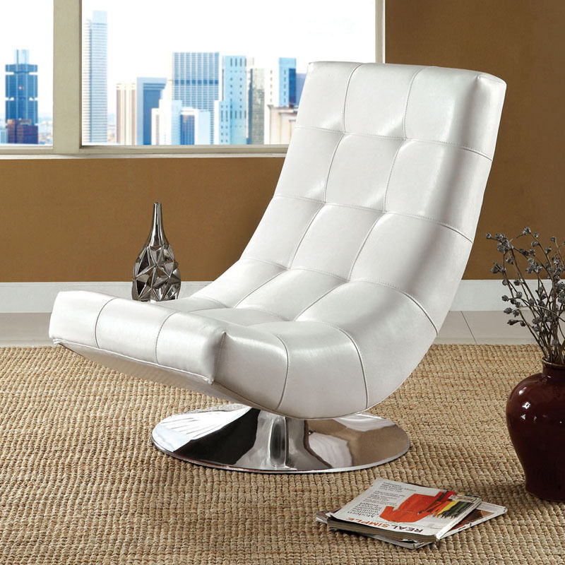 Modern white bycast leather upholstered chrome metal base for Modern swivel accent chair