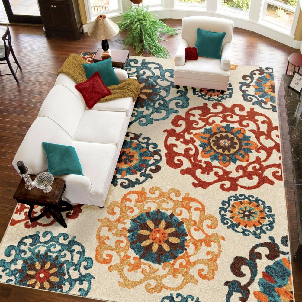 Turquoise Orange Red AREA RUG CARPET Beige Blue Medallion