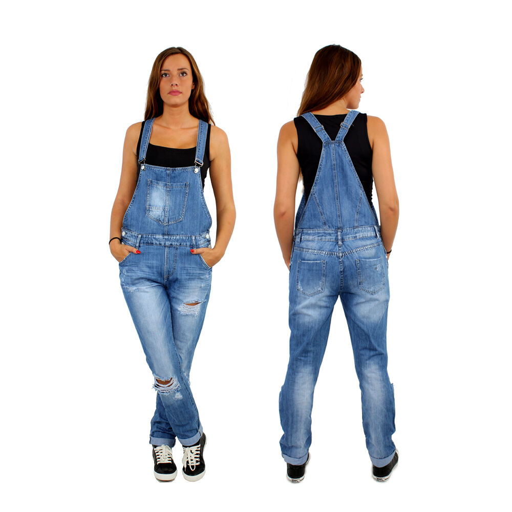 jumpsuit overall dungarees loose fit jeans ripped denim q1454 ebay. Black Bedroom Furniture Sets. Home Design Ideas