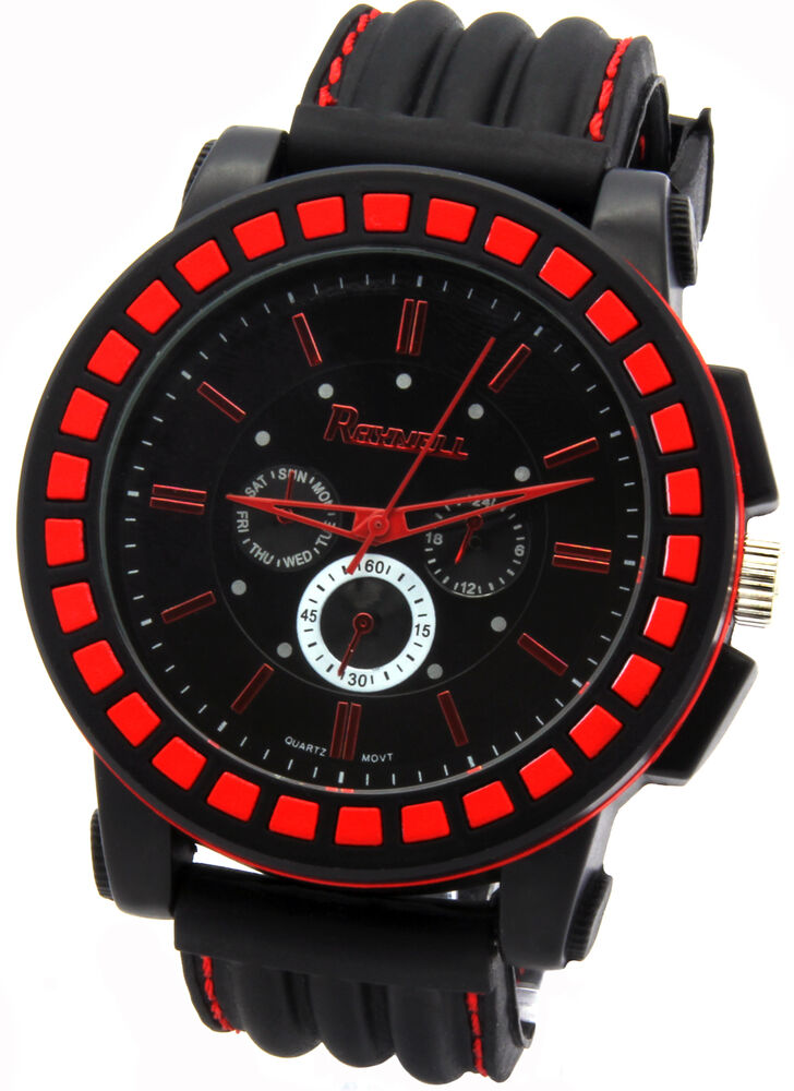 Mens black red hip hop fashion casual silicone quartz for Rapper watches