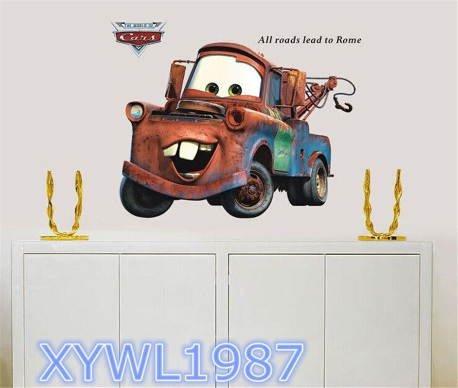 Kids toys cars 2 movie lightning mcqueen mater wall 3d for Cars 2 wall mural
