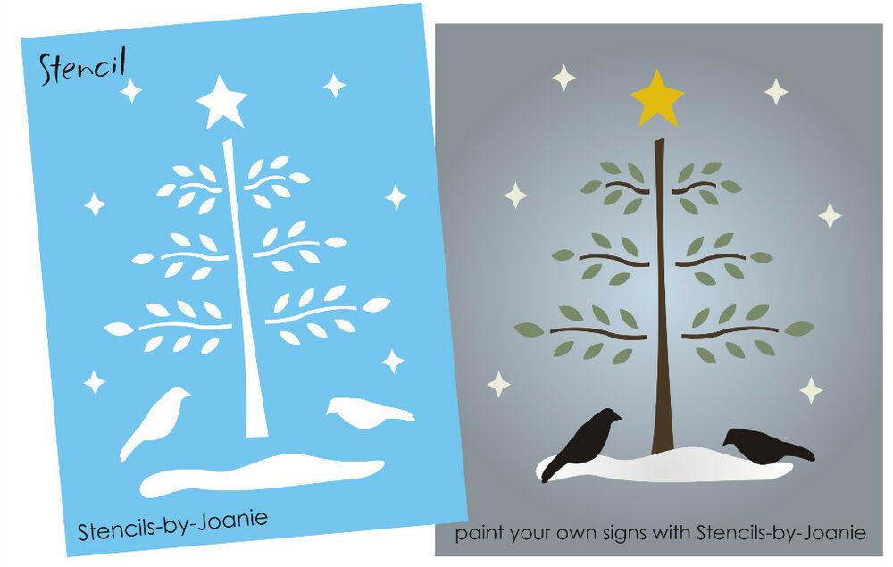 "Joanie Prim Winter Stencil 6"" Willow Feather Tree"