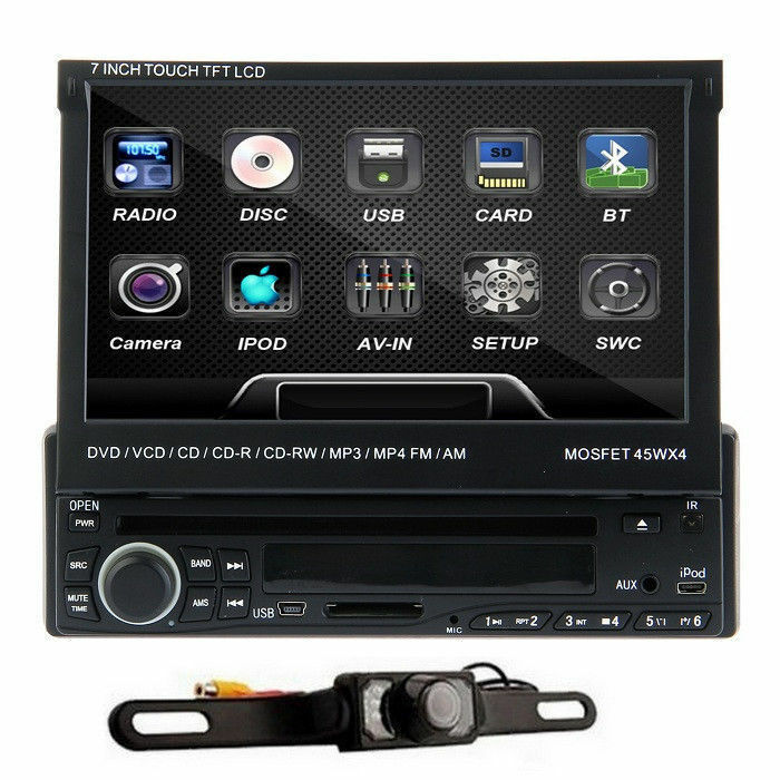 7 single din touch screen car dvd player bluetooth ipod rds radio backup camera ebay. Black Bedroom Furniture Sets. Home Design Ideas