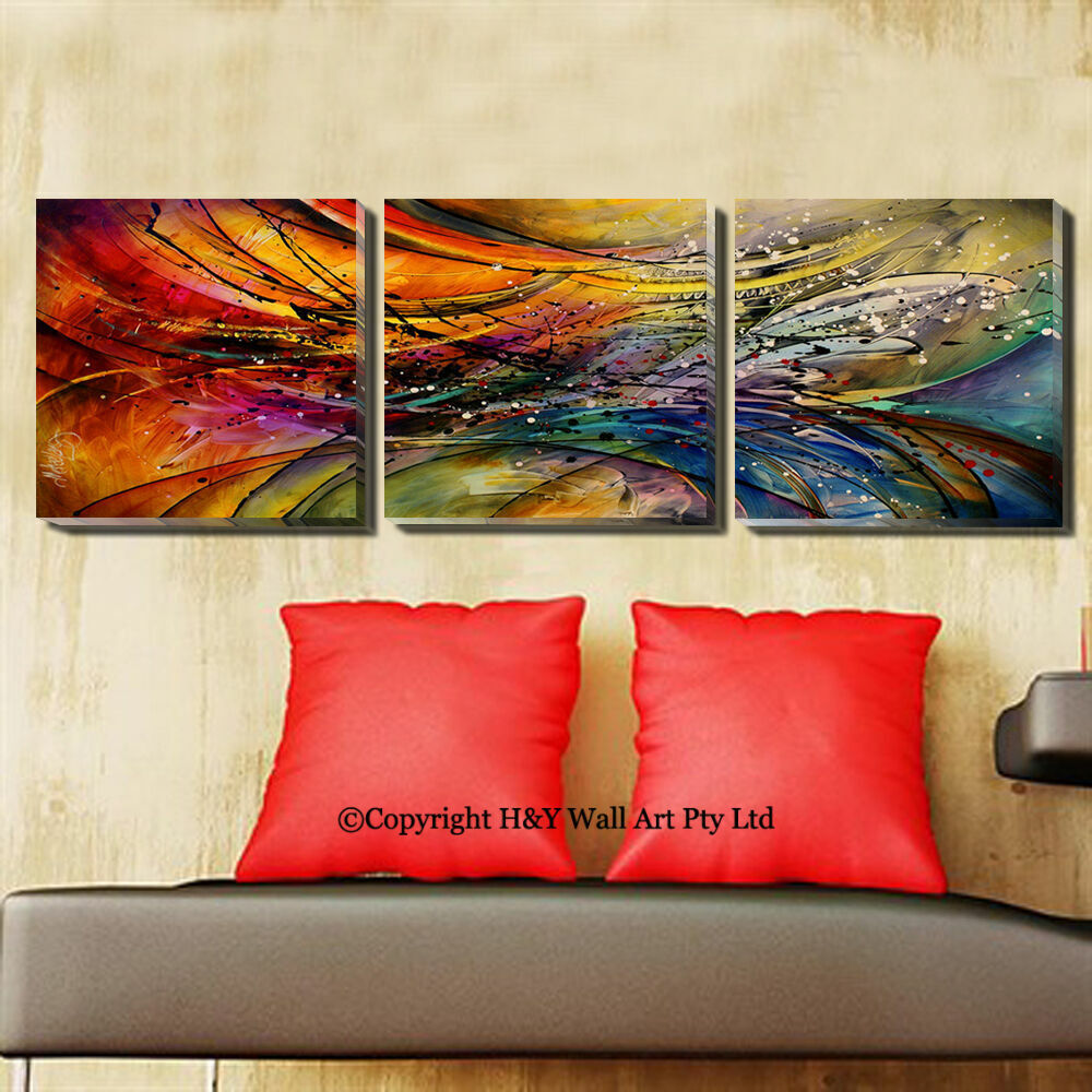 Set of 3 abstract pattern stretched canvas prints framed for Set of three canvas paintings