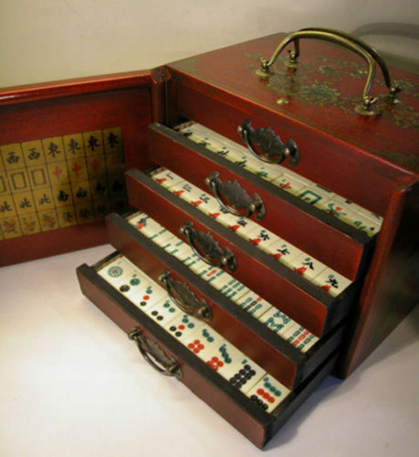 Play Mahjongg Toy Chest : Chinese mah jong tiles game set with wooden box ebay