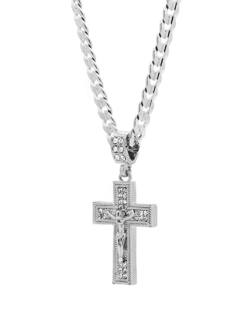 mens silver plated cz jesus cross pendant hip hop 24. Black Bedroom Furniture Sets. Home Design Ideas