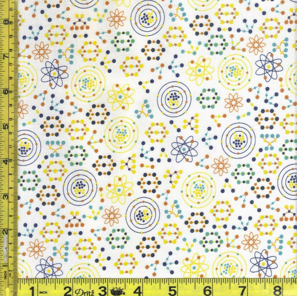 Science math atomic bots space white cotton fabric 1 4 for Space cotton fabric