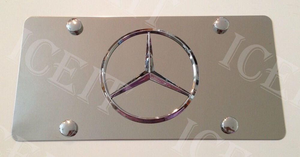 Mercedes benz front plate mirror stainless steel heavy for Mercedes benz front license plate frame