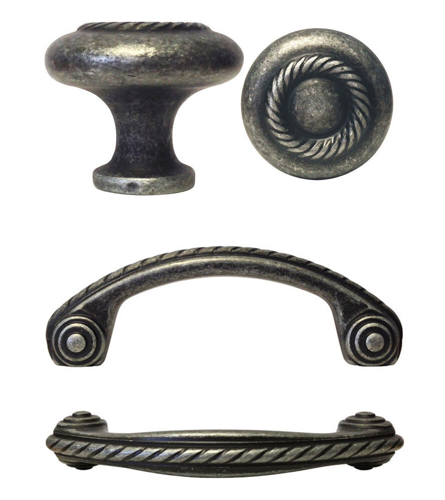 Kitchen Knobs And Pulls For Cabinets: Antique Petwer Rope Kitchen Cabinet Drawer Knobs 1 1/4