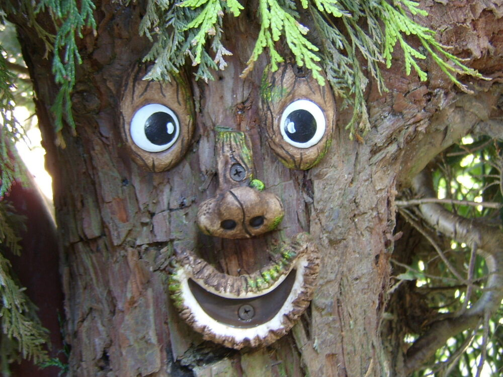 Tree face garden ornament sculpture statue tree for Tree decorations for garden