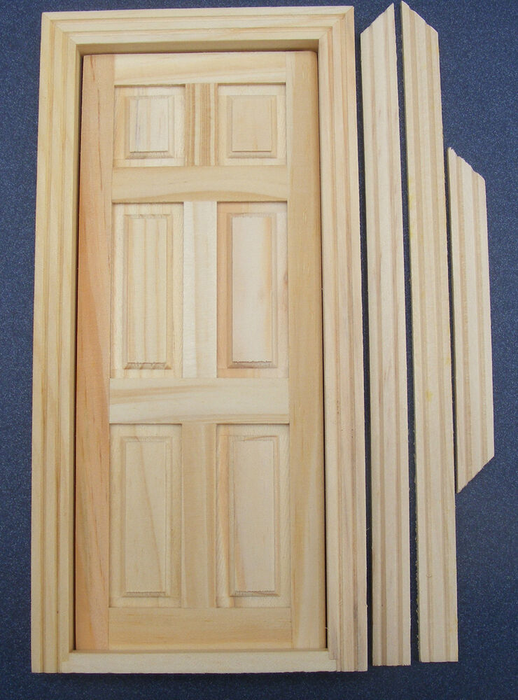 Dolls house miniature 1 12 scale 6 panel natural finish for 12 panel door