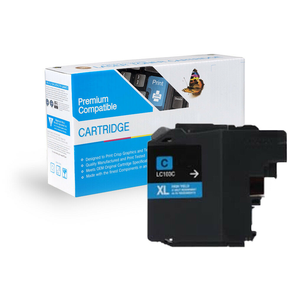 2 Pack Of Quality CYAN Ink Cartridges For BROTHER LC103C