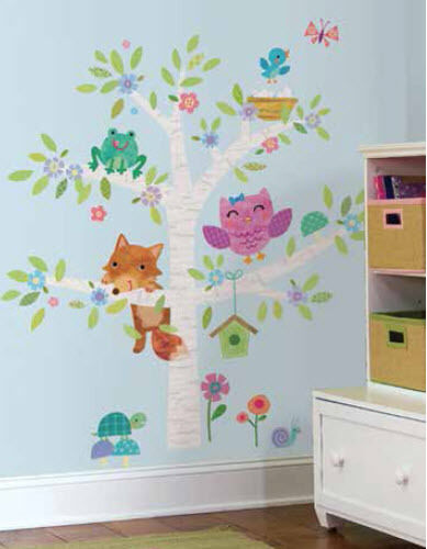 Woodland baby birch tree wall stickers mural 27 decals fox for Baby mural stickers