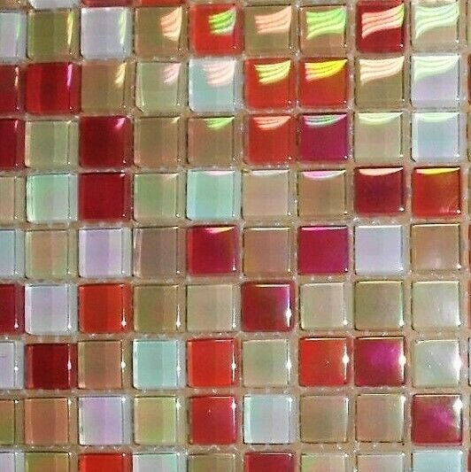 Glasmosaik rot mix multicolour perlmutt mosako mosaik for Mosaik fliesen perlmutt