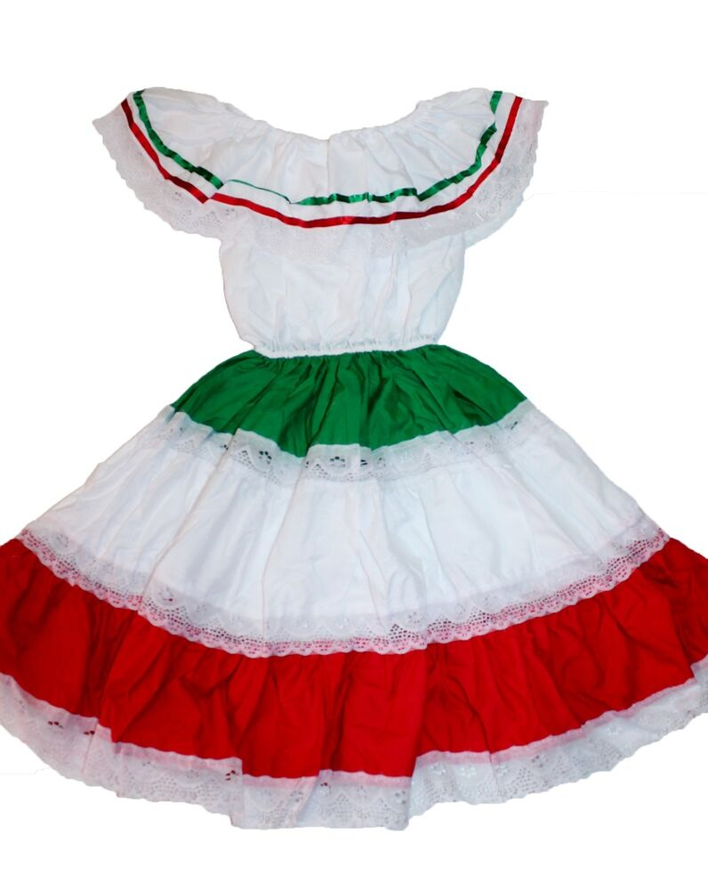 6a596be454d GIRLS TRICOLOR GYPSY PEASANT MEXICAN LACE DRESS CINCO DE MAYO FIESTA ...
