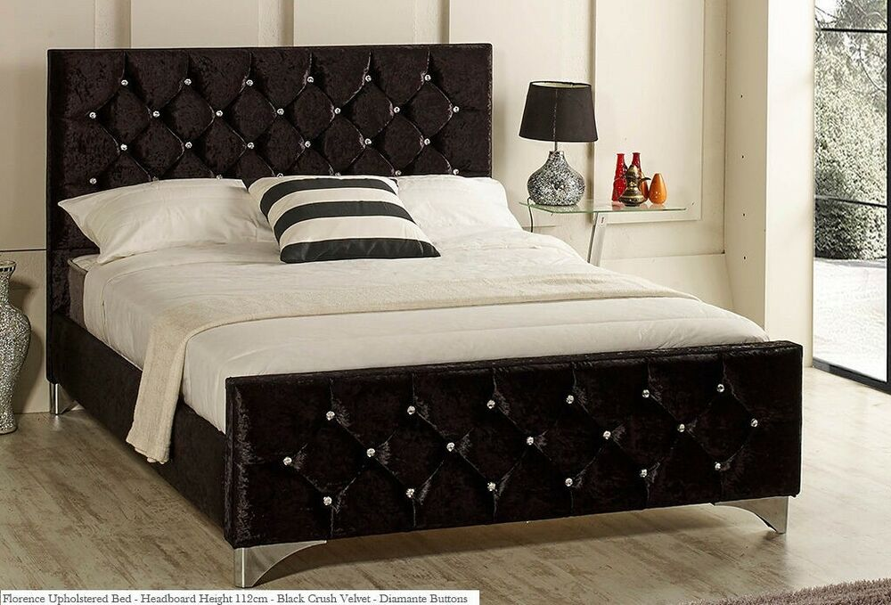 Florence Bed Frame Upholstered In Chenille Or Crushed