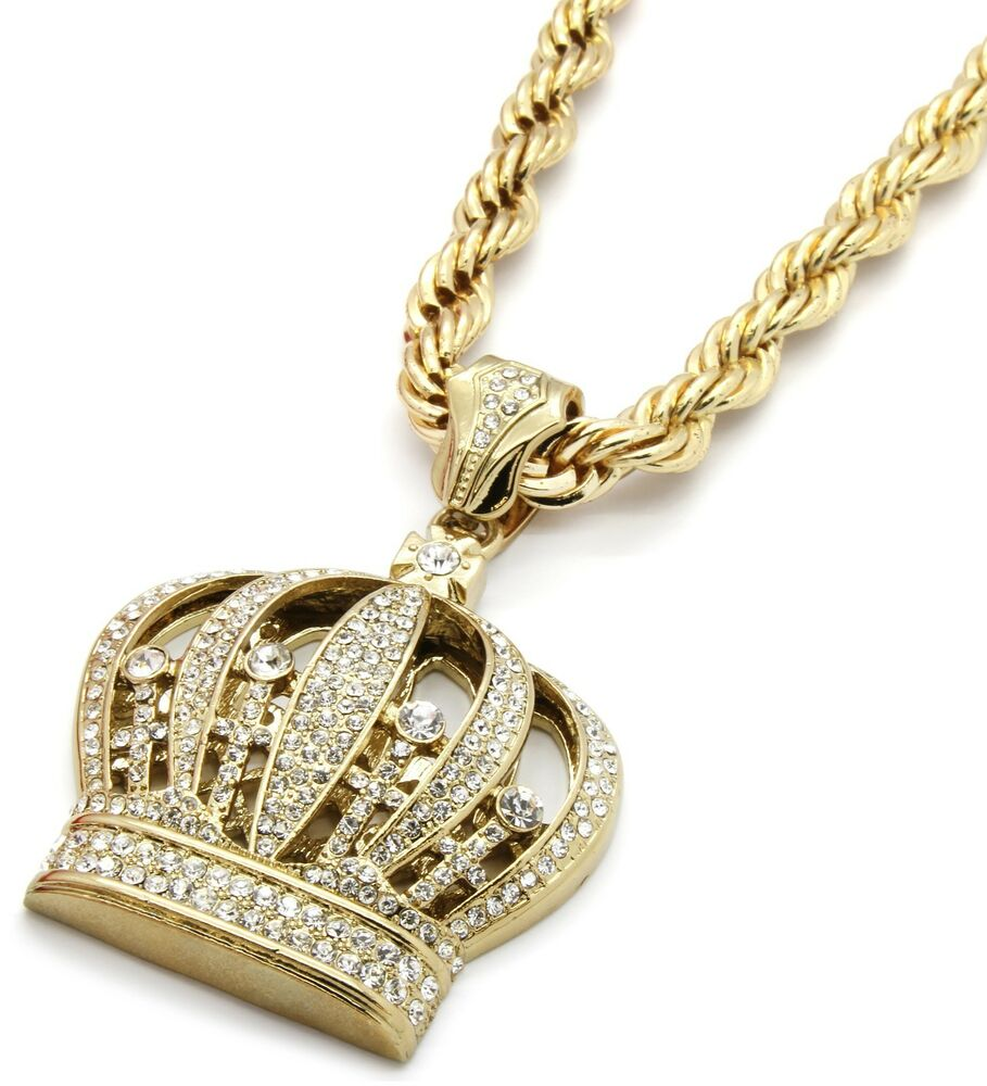 Mens 14k Gold Iced Out Queen Crown Pendant Hip Hop 30