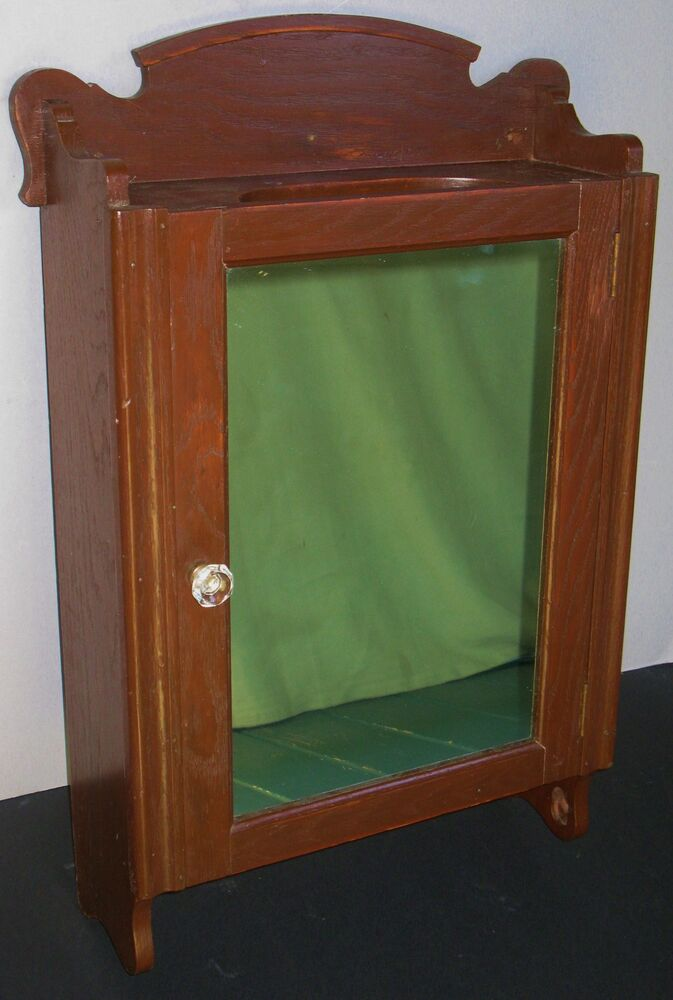 antique oak wall mount medicine cabinet mirror glass 87985