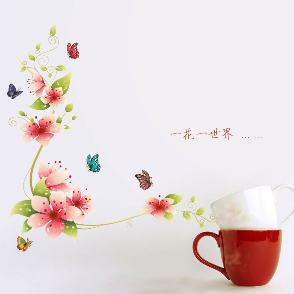 Beautiful flower home decor wall sticker wallpaper wall for Butterfly mural wallpaper