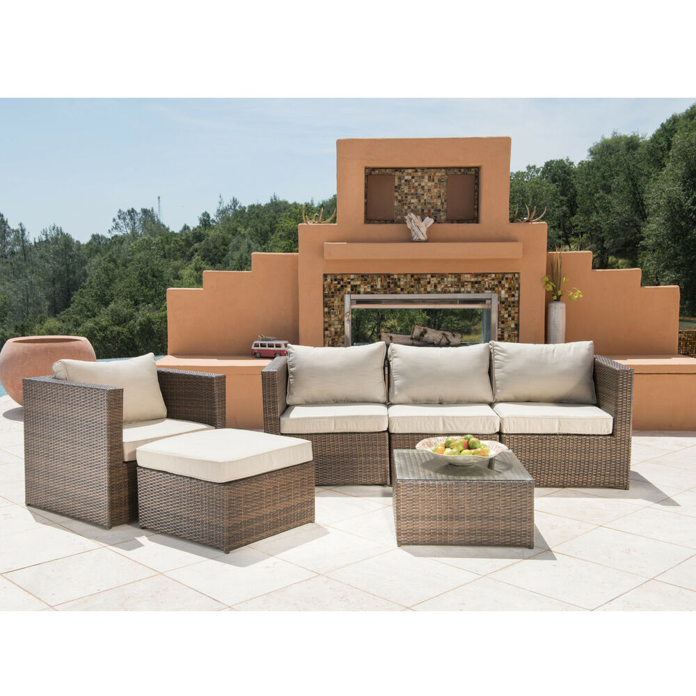 Supernova 6pc outdoor rattan wicker sofa sectional patio for Sofa outdoor