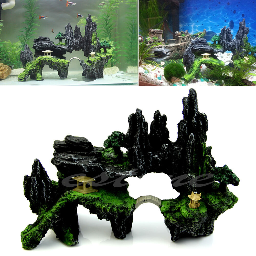 Aquarium tree house mountain view cave bridge fish tank for Aquarium decoration ornaments