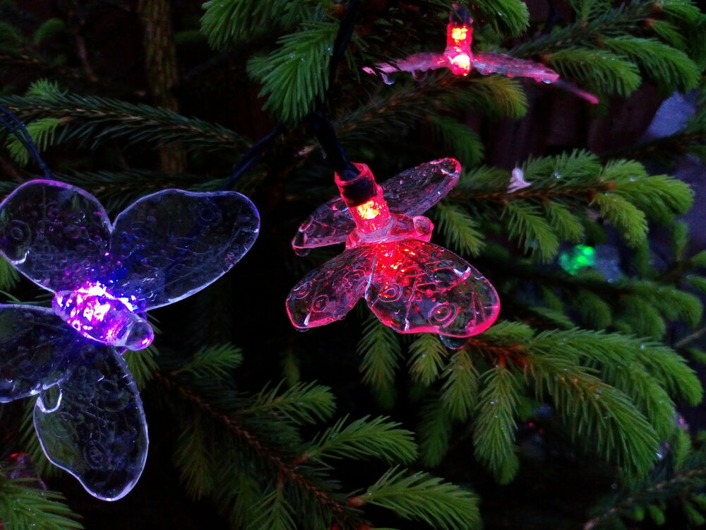 solar lichterkette schmetterling 7 wechselnde farben 20 leds butterfly ebay. Black Bedroom Furniture Sets. Home Design Ideas