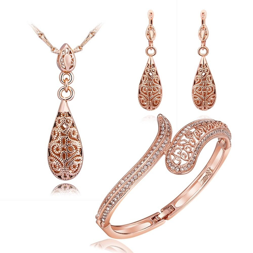 bracelet and earrings sets new 18k gold filled antique style filigree necklace 3253