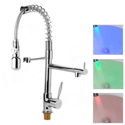 kitchen faucet with led light chrome led light pull sprayer kitchen sink faucet 8063