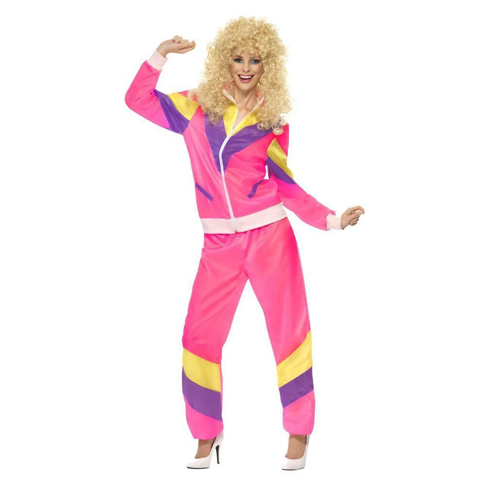 Womens 80's 90's Height of Fashion Pink Shell Suit Costume ...  Womens 80's...