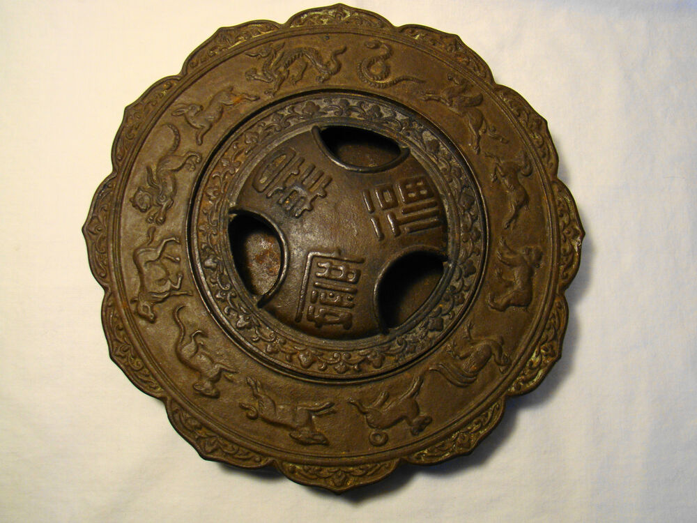 Cast iron chinese zodiac signs lotus shape incense