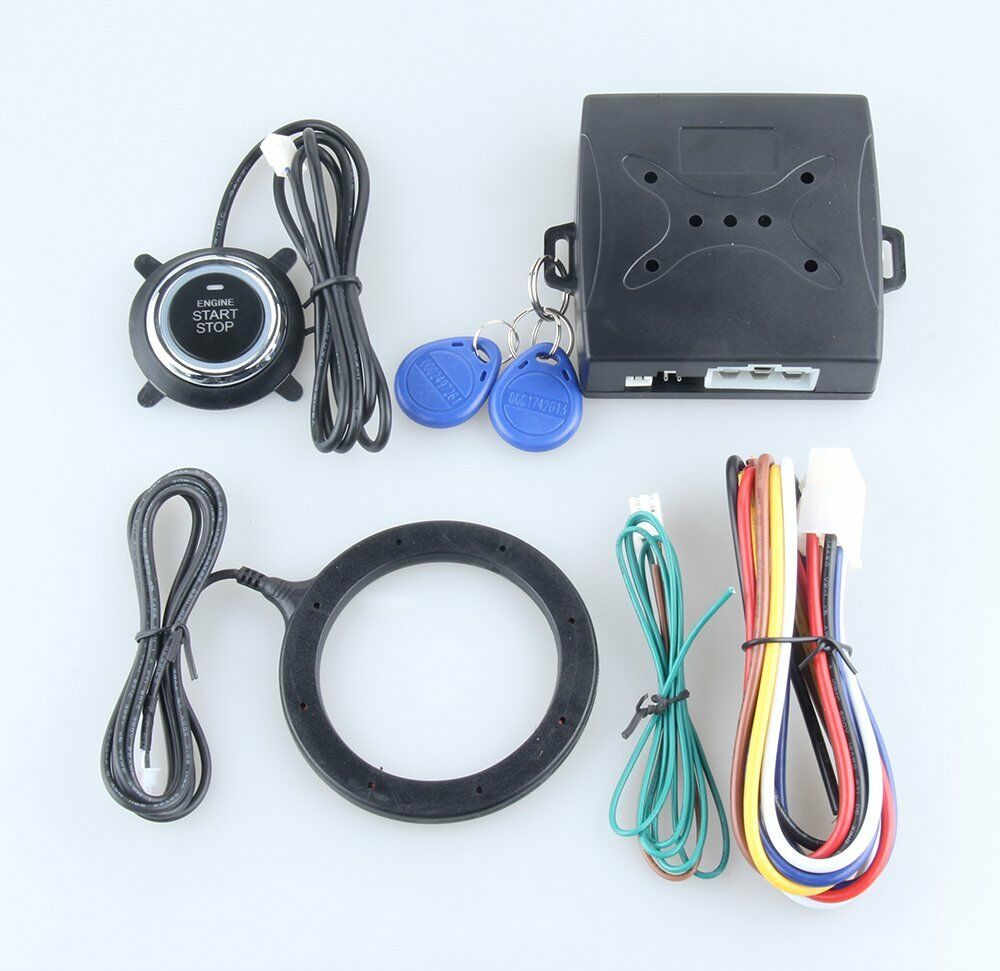 rfid car alarm system push button start keyless go transponder immobilizer dc12v ebay. Black Bedroom Furniture Sets. Home Design Ideas