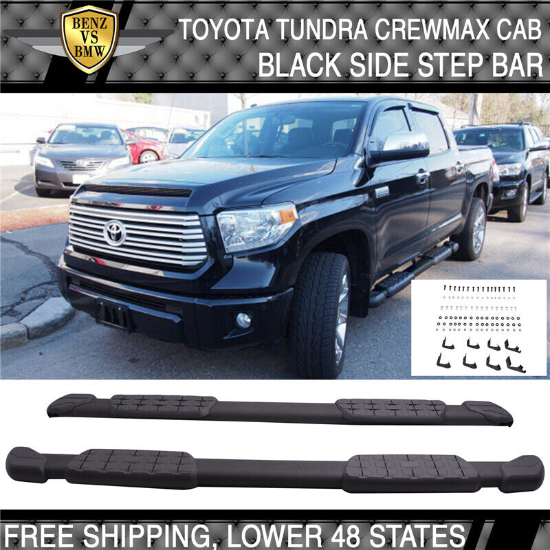 2007 Toyota Tundra Running Boards -17 Toyota Tundra Crewmax Cab Black Aluminum OE Side Step Bar Running ...