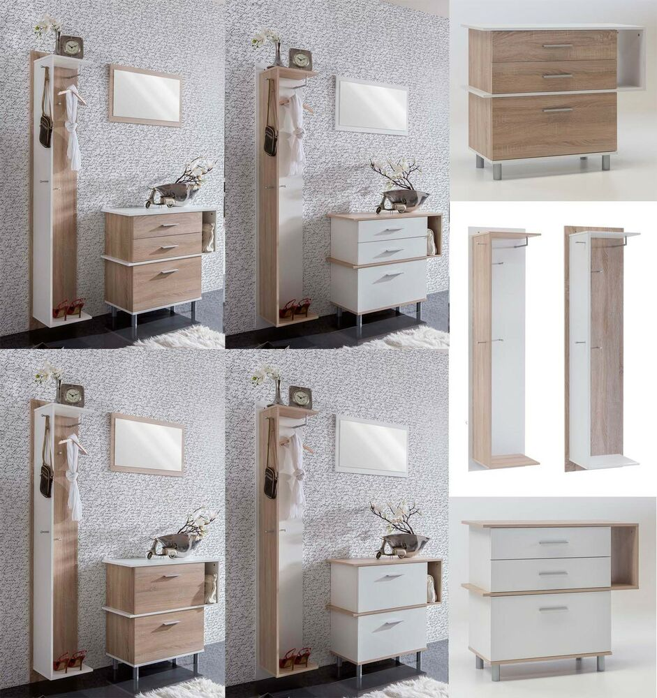 schuhschrank garderobe wandspiegel flurset garderobenset diele wei sonoma eiche ebay. Black Bedroom Furniture Sets. Home Design Ideas