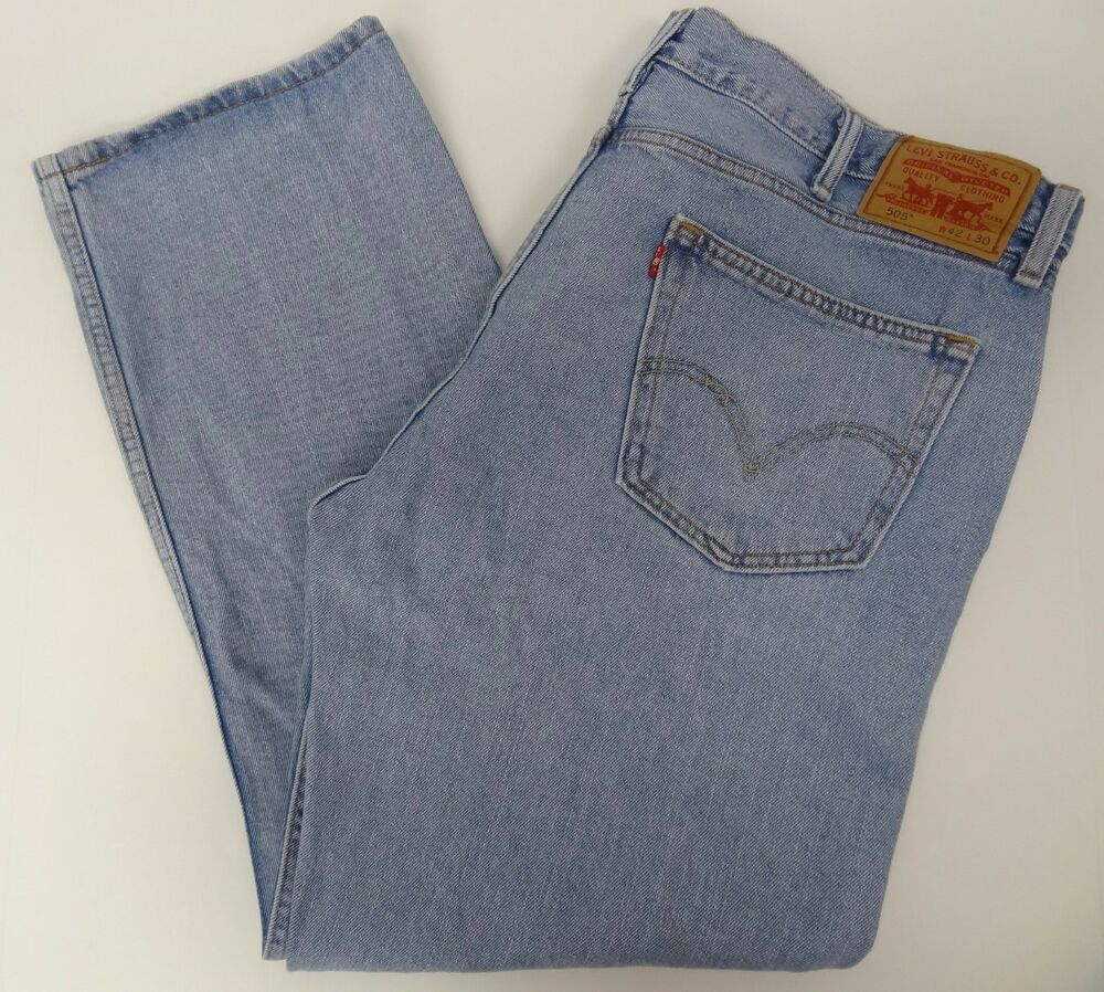 levis mens 505 straight fit blue jeans 42x30 42 30 free shipping 559 ebay. Black Bedroom Furniture Sets. Home Design Ideas